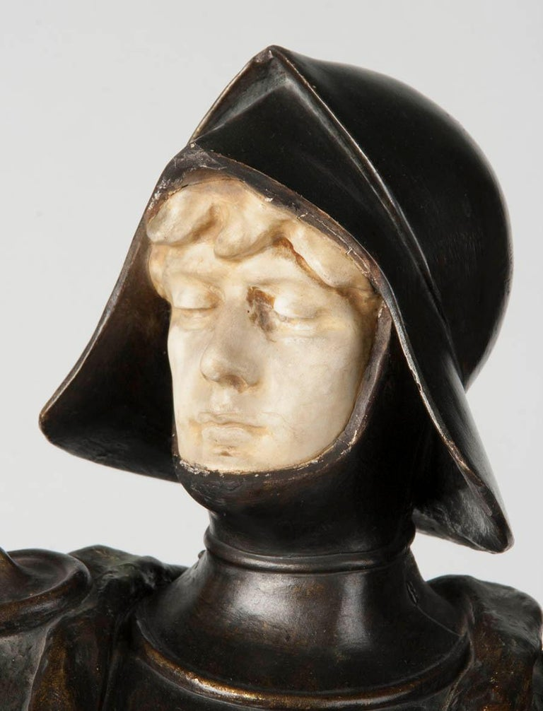 Romantic French Terracotta Statue of a Knight Signed J. Dupré For Sale