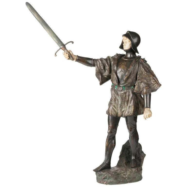 French Terracotta Statue of a Knight Signed J. Dupré For Sale