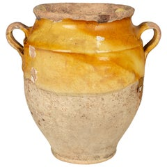 French Terracotta Yellow Confit Pot