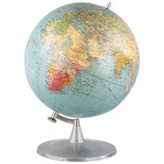 French Terrestrial Globe in Papier Mâché and Aluminum, France, 1960s