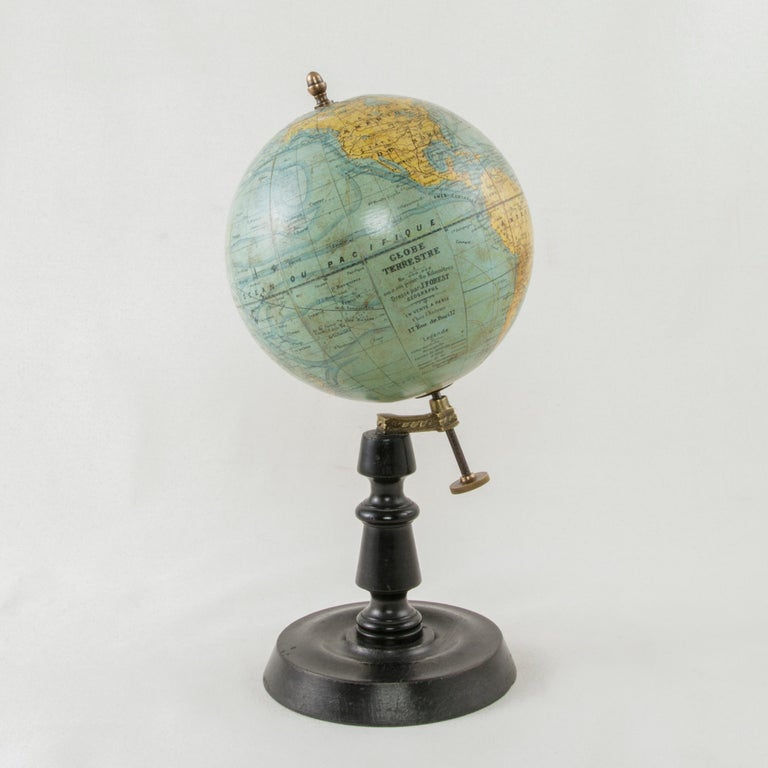 French Terrestrial Globe on Ebonized Wooden Base by Cartographer J. Forest In Good Condition For Sale In Fayetteville, AR