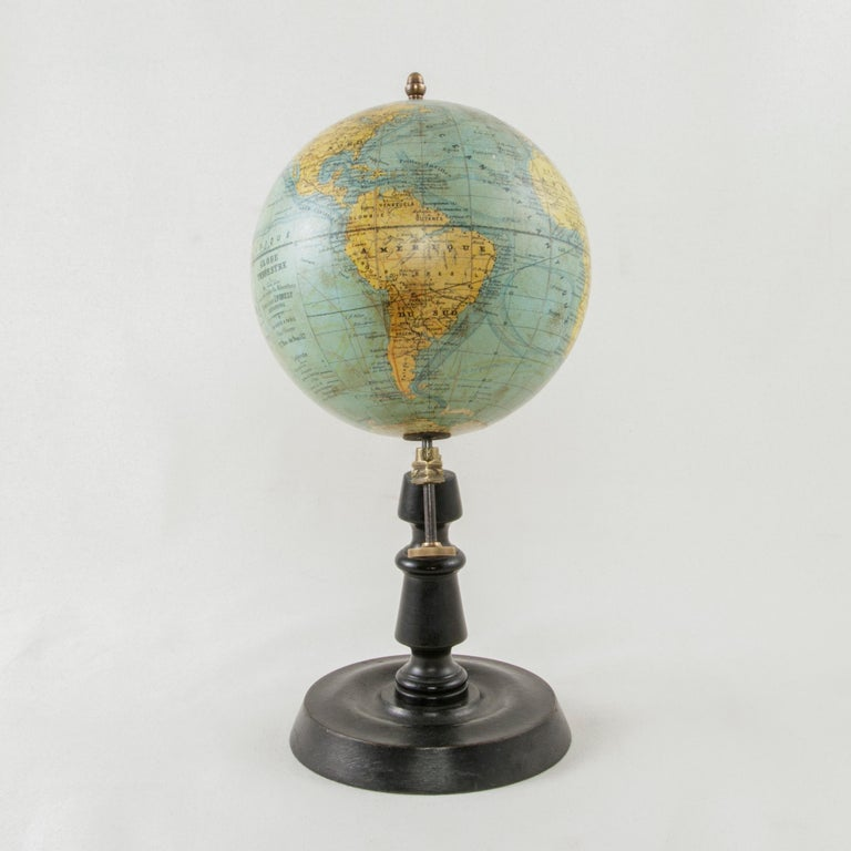 20th Century French Terrestrial Globe on Ebonized Wooden Base by Cartographer J. Forest For Sale
