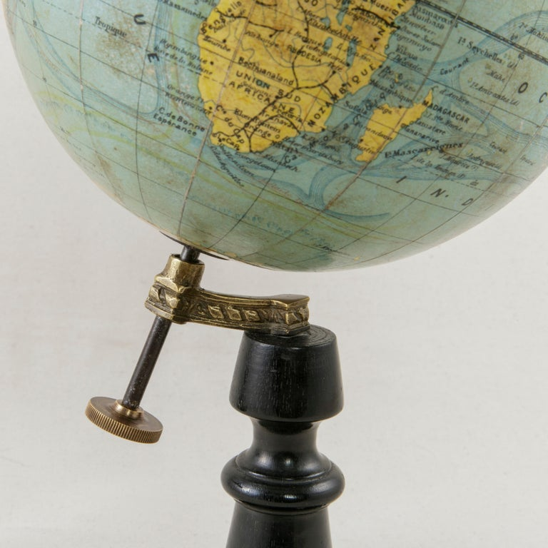 Bronze French Terrestrial Globe on Ebonized Wooden Base by Cartographer J. Forest For Sale
