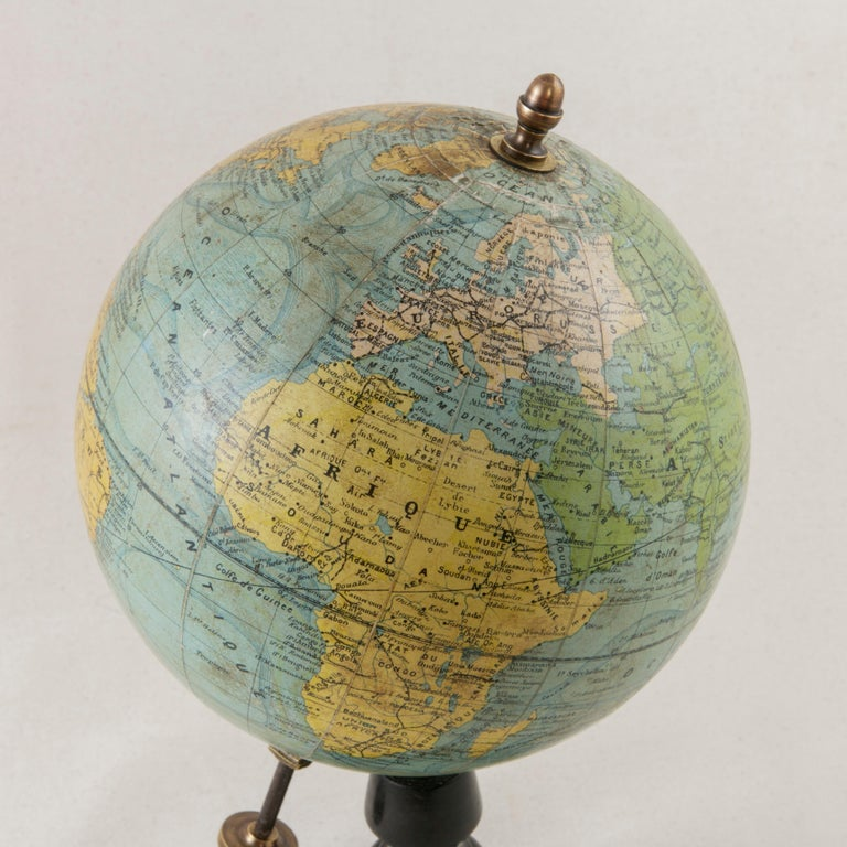 French Terrestrial Globe on Ebonized Wooden Base by Cartographer J. Forest For Sale 2
