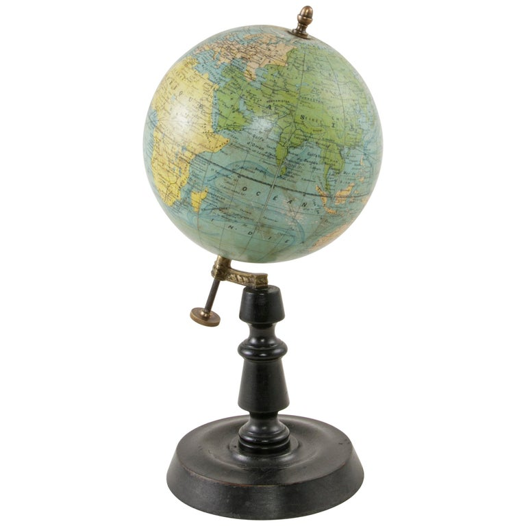 French Terrestrial Globe on Ebonized Wooden Base by Cartographer J. Forest For Sale