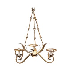 French Three-Light Gold Tone Iron Chandelier in Leaf Motif