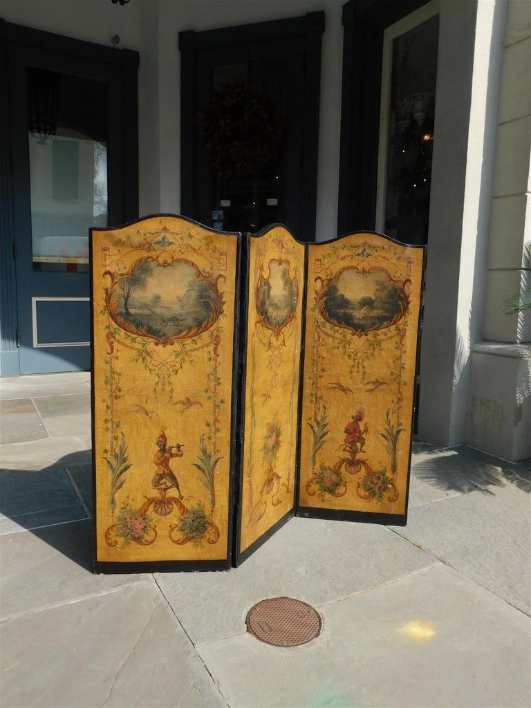 Louis Philippe French Three Panel Decorative Painted Canvas Screen with Musical Monkeys C. 1830 For Sale
