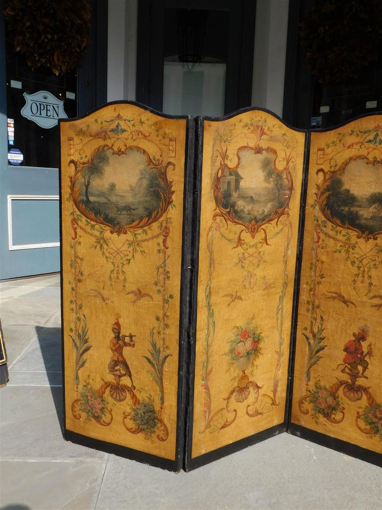 Hand-Carved French Three Panel Decorative Painted Canvas Screen with Musical Monkeys C. 1830 For Sale