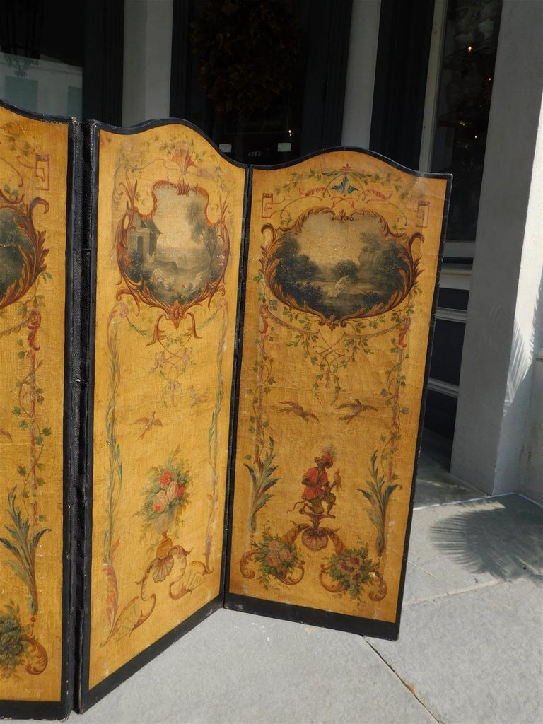 French Three Panel Decorative Painted Canvas Screen with Musical Monkeys C. 1830 In Excellent Condition For Sale In Charleston, SC