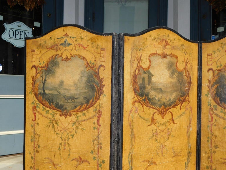 Mid-19th Century French Three Panel Decorative Painted Canvas Screen with Musical Monkeys C. 1830 For Sale