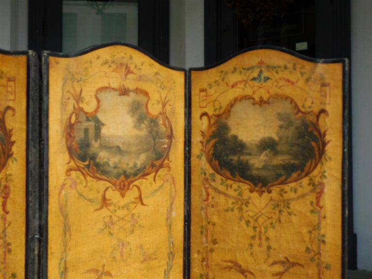 French Three Panel Decorative Painted Canvas Screen with Musical Monkeys C. 1830 For Sale 1