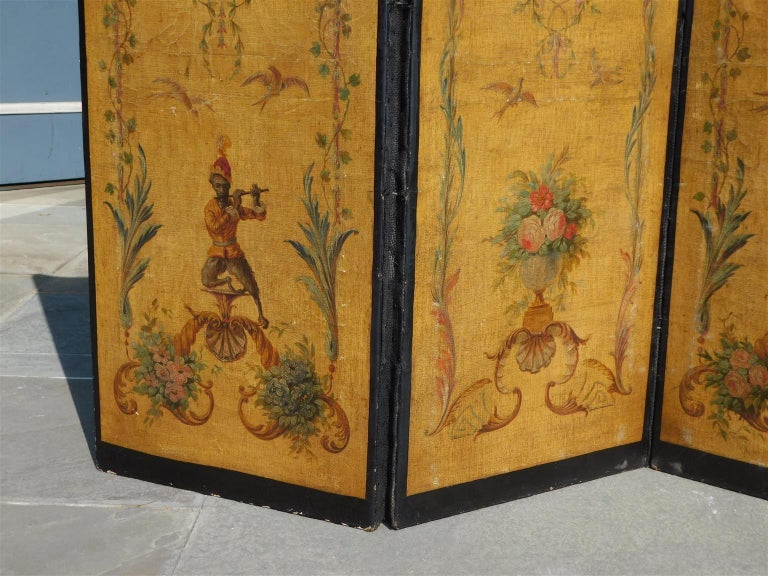 French Three Panel Decorative Painted Canvas Screen with Musical Monkeys C. 1830 For Sale 2