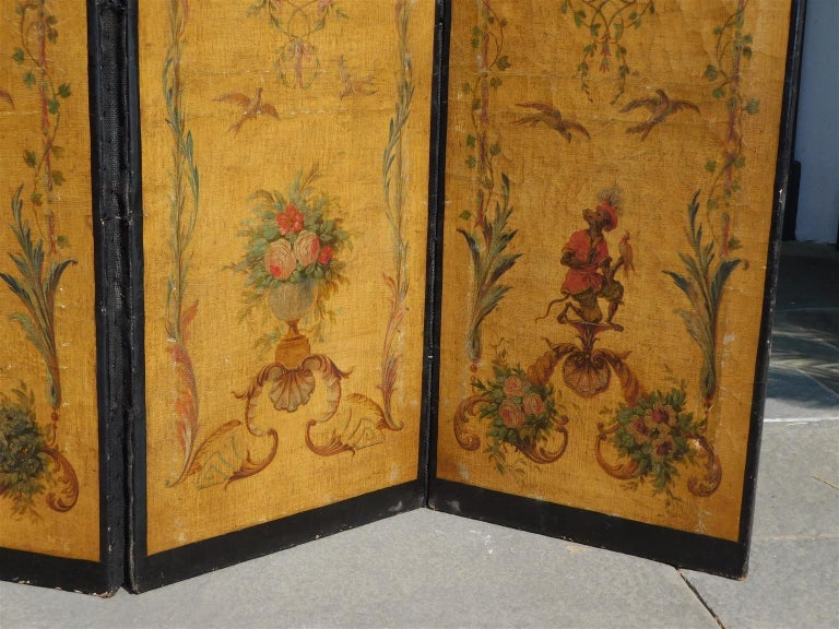French Three Panel Decorative Painted Canvas Screen with Musical Monkeys C. 1830 For Sale 3