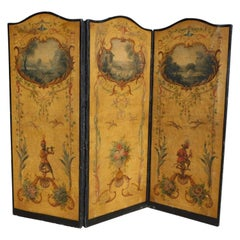 French Three Panel Decorative Painted Canvas Screen with Musical Monkeys C. 1830