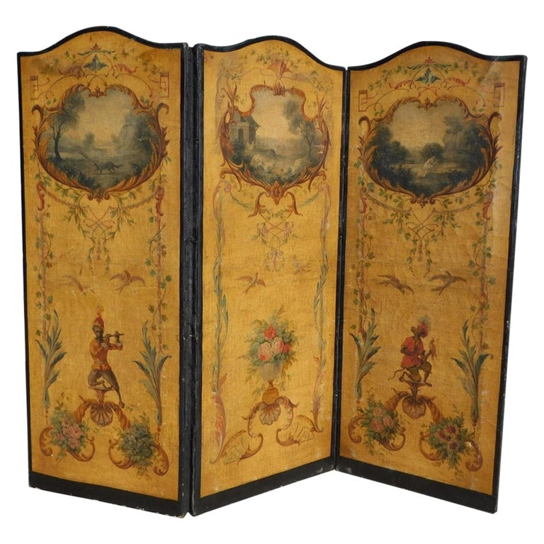 French Three Panel Decorative Painted Canvas Screen with Musical Monkeys C. 1830 For Sale