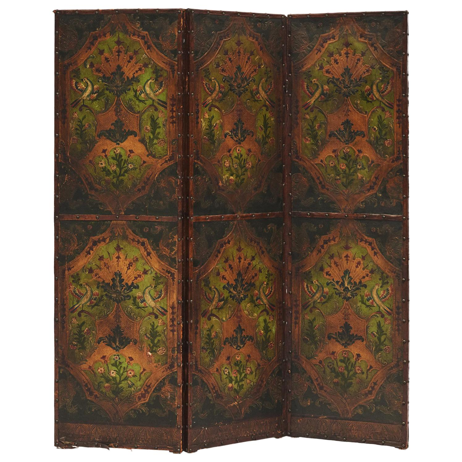 French Three-Panel Folding Leather Screen