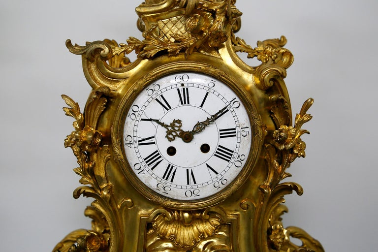 Three-Piece Clock by Samuel Marti Attributed Alfred Emmanuel Louis Beurdeley For Sale 4