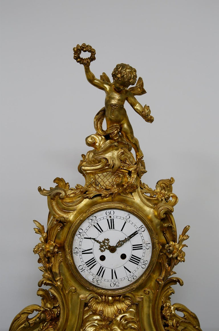 Three-Piece Clock by Samuel Marti Attributed Alfred Emmanuel Louis Beurdeley For Sale 7
