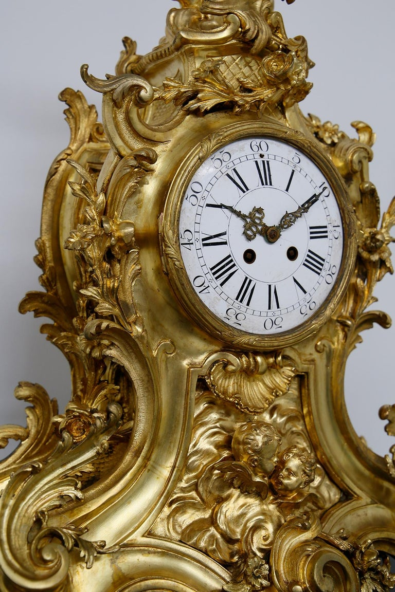Three-Piece Clock by Samuel Marti Attributed Alfred Emmanuel Louis Beurdeley For Sale 9