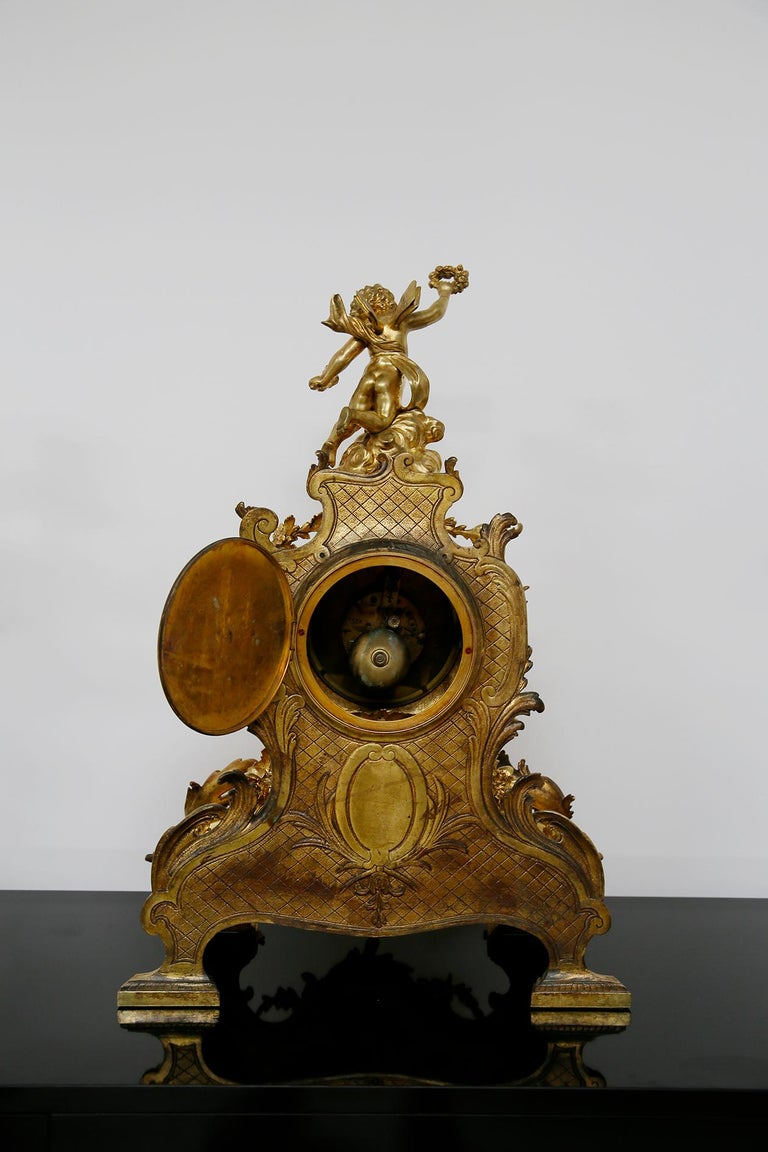 Three-Piece Clock by Samuel Marti Attributed Alfred Emmanuel Louis Beurdeley For Sale 12