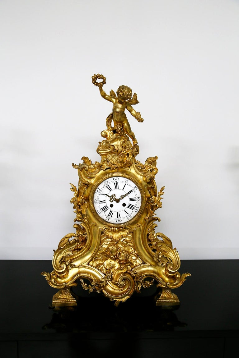 Louis XV Three-Piece Clock by Samuel Marti Attributed Alfred Emmanuel Louis Beurdeley For Sale