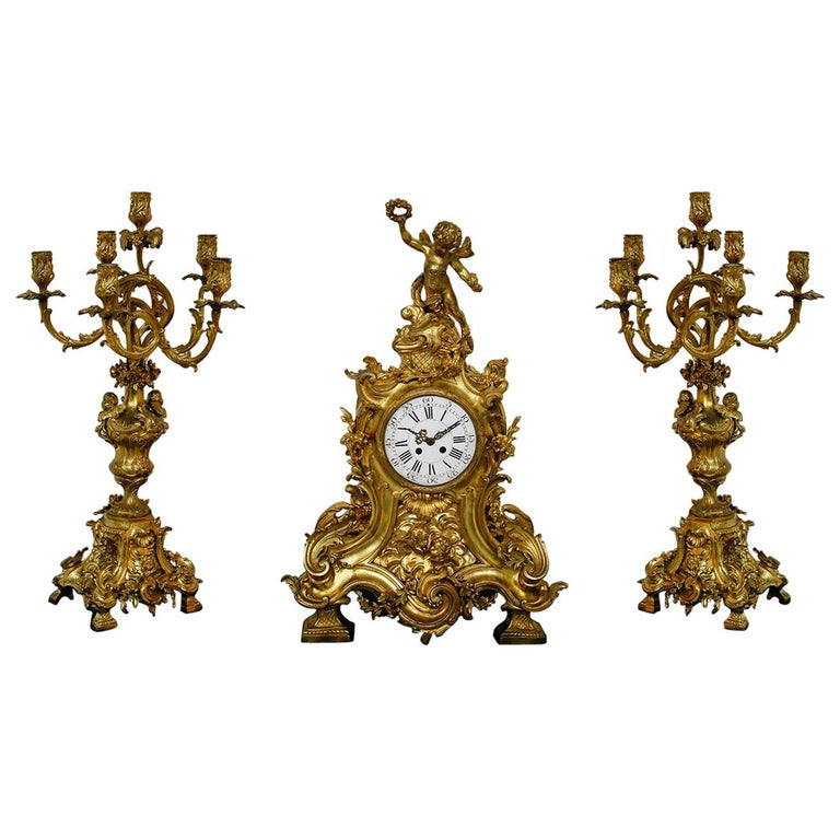 Three-Piece Clock by Samuel Marti Attributed Alfred Emmanuel Louis Beurdeley For Sale