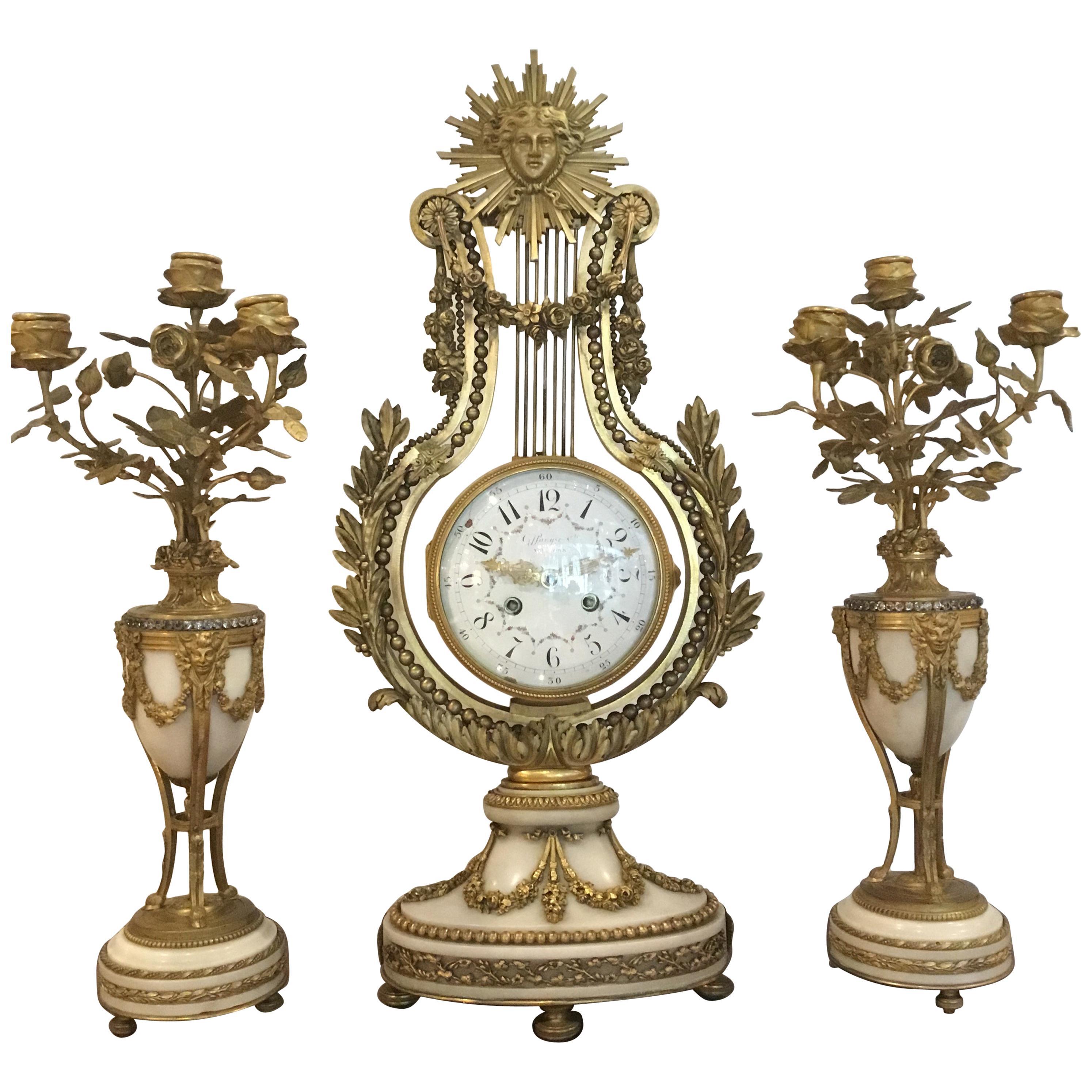 French Three-Piece Gilt Bronze Clock and Candelabrum Garniture Set, 19th Century