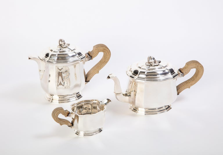 Late 20th Century French Three-Piece Tea and Coffee Set in Silver, Mark of Tiffany & Co., New York For Sale