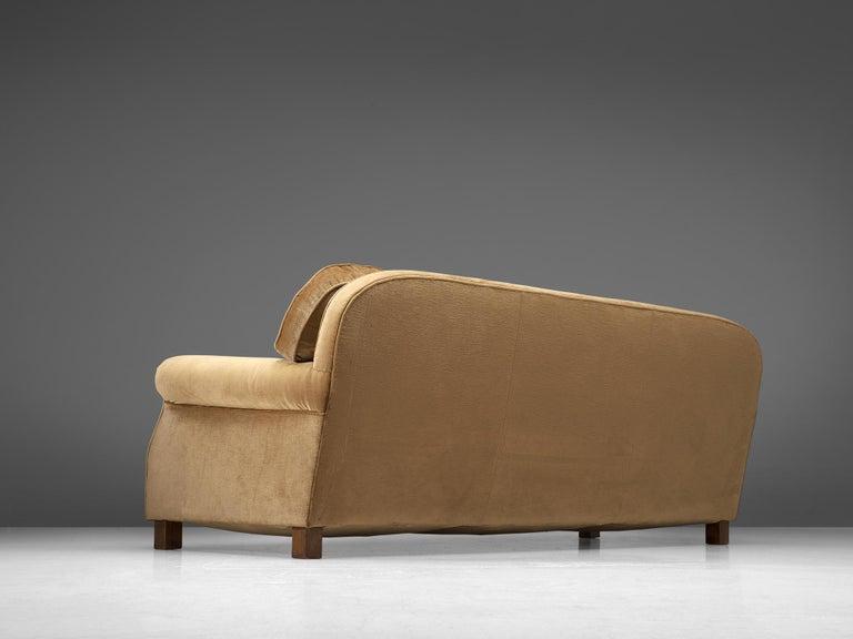 Mid-20th Century French Three-Seat Sofa in Beige Velvet