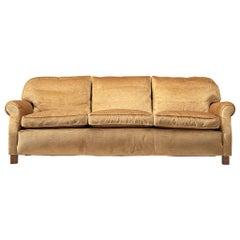 French Three-Seat Sofa in Beige Velvet