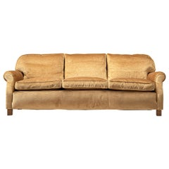 French Three-Seat Sofa in Beige Velvet