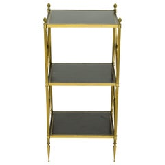 French Three-Tier Maison Jansen Brass Leather Side Table, 1970s
