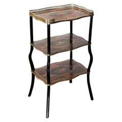 French Three-Tiered Marquetry Inlaid Table