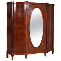 French Thuya Burl Art Deco Wardrobe or Armoire, 1930s