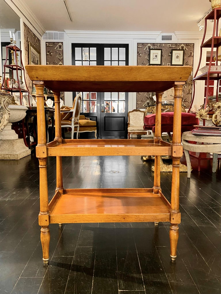 Louis XVI French Tiered Tray Table, Bronze Sabot Caps For Sale