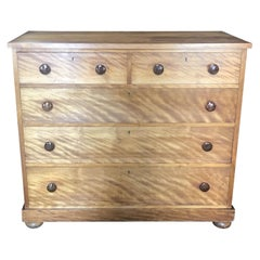 French Tiger's Eye Chest of Drawers Commode with Porcelain Drawer Pulls