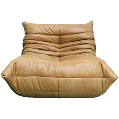 French Togo Lounge Chair in Camel Leather by Michel Ducaroy for Ligne Roset