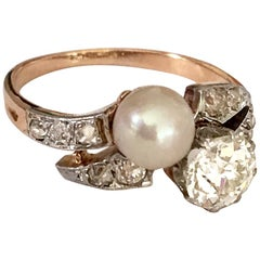 French toi et moi Old Cut Diamond and Pearl 18 Karat Rose Gold Ring