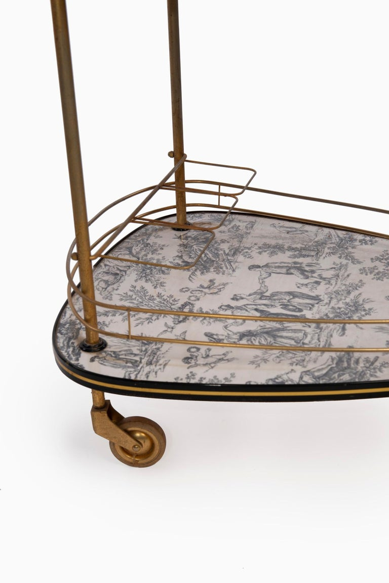 Modern 20th Century French Toile De Jouie Bar Cart For Sale