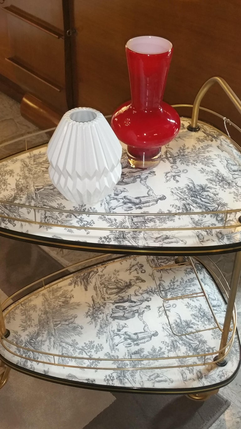 Formica 20th Century French Toile De Jouie Bar Cart For Sale