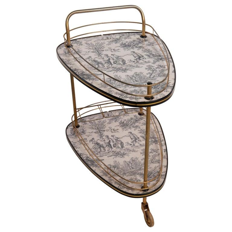 20th Century French Toile De Jouie Bar Cart For Sale