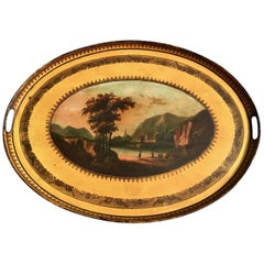 French Tole 19th Century Yellow Oval Tray