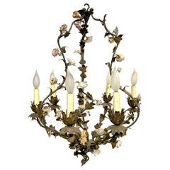 French Tole and Floral Chandelier, 19th Century