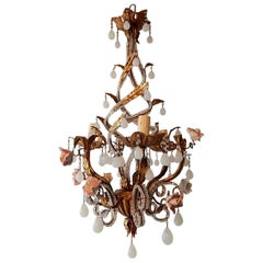 French Tole Beaded Roses and White Opaline Drops Chandelier