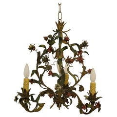 French Tole Floral Chandelier Light Fixture