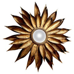 French Tole Flower-Shape Mirror