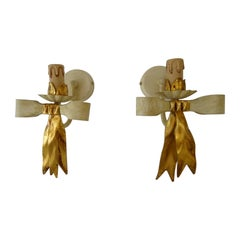 French Tole Gold Bows Sconces, circa 1940 Never Used