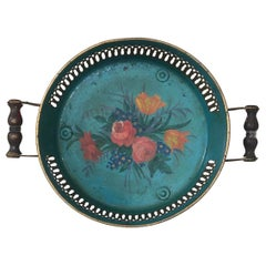 French Tole Handled Tray with Flowers, Circa 1930