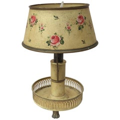 French Tole Lamp with Flowers, circa 1900