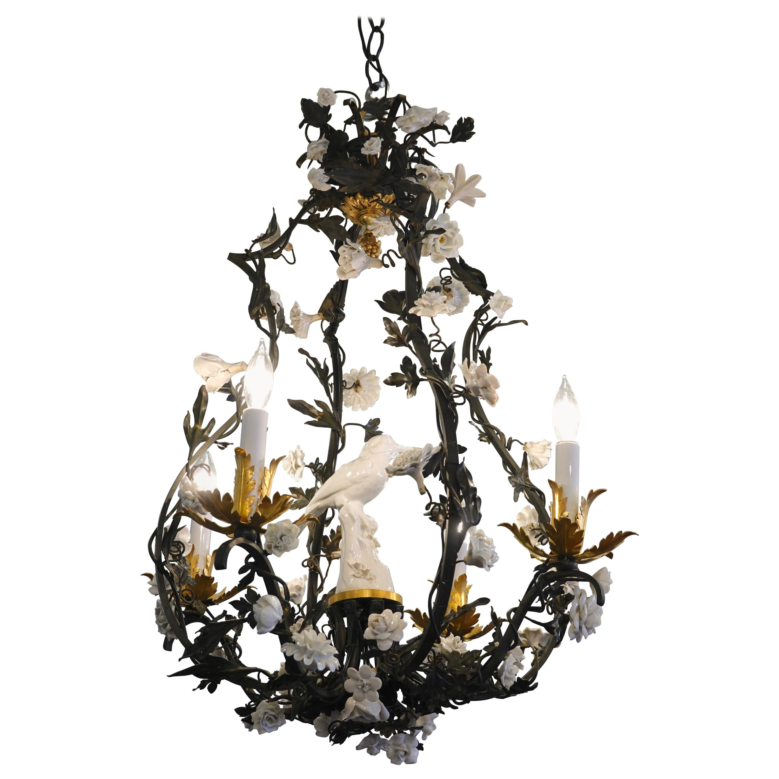 French Tole Leaf Chandelier with White Porcelain Bird and Flowers